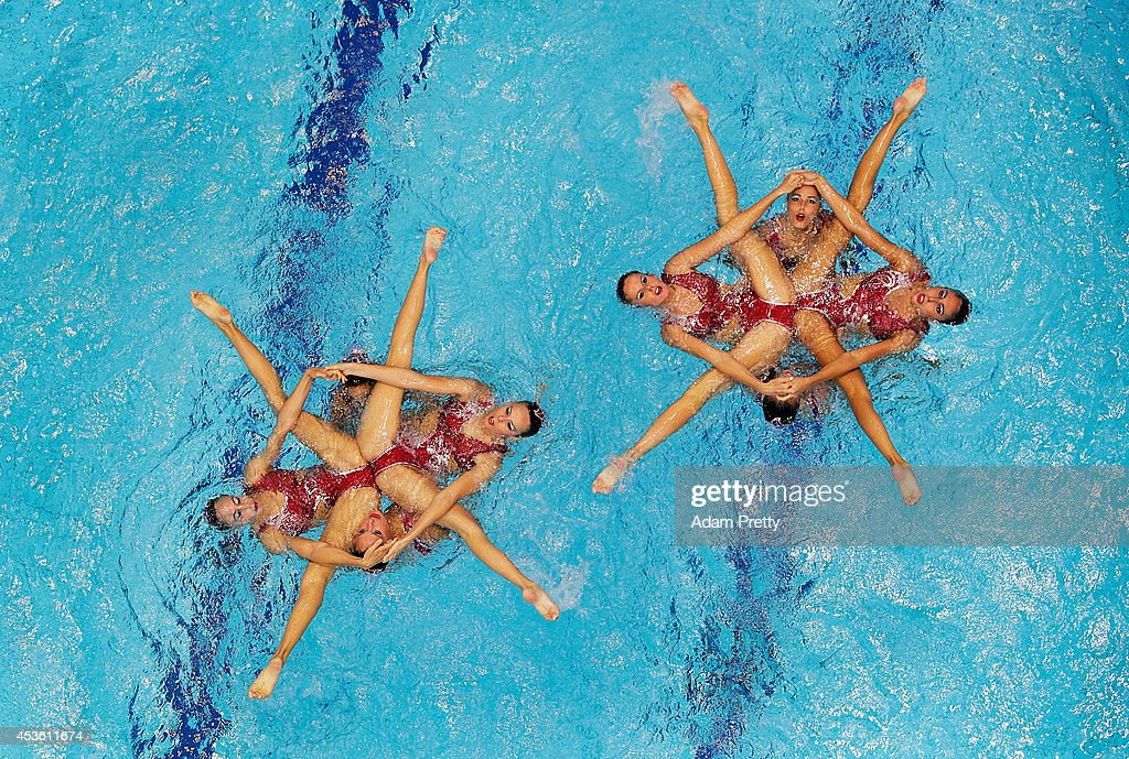 Spain perform during the Womens Synchronised Swimming Free Routine at Europa-Sportpark on August 14, 2014 in Berlin, Germany.