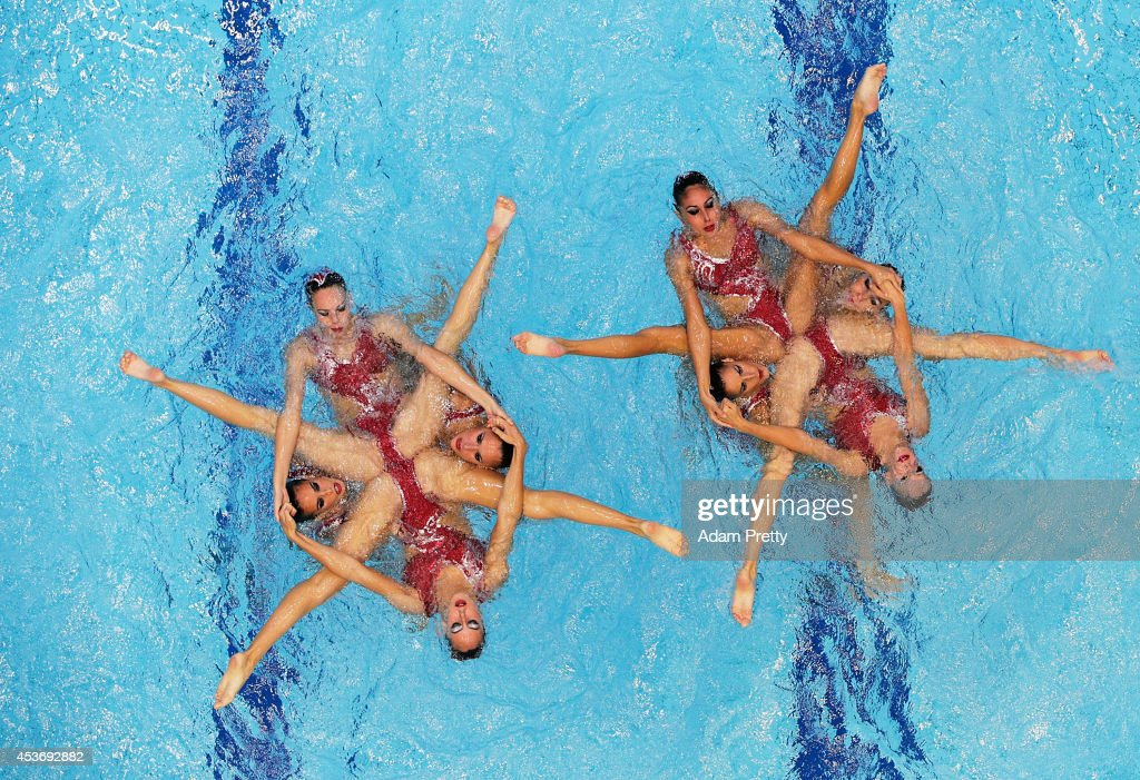 Spain perform during the Women's Team Free Synchronised Swimming Final at Europa-Sportpark on August 16, 2014 in Berlin, Germany.