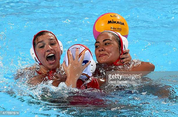 Spain players celebrate victory after the Women's Water Polo semi final between Spain and Greece on day six of the Baku 2015 European Games at the...
