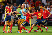 Spain players celebrate victory during the UEFA EURO 2012 semi final match between Portugal and Spain at Donbass Arena on June 27 2012 in Donetsk...