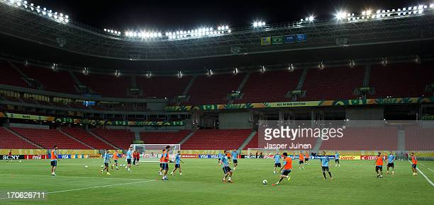 Spain players excercise during a training session ahead of their FIFA Confederations Cup Brazil 2013 opening game against Uruguay at the Pernambuco...