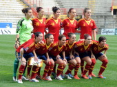 Spain players line up for a team photo before the start of during the FIFA Women's World Cup 2015 qualifier between Italy and Spain at Stadio Romeo...