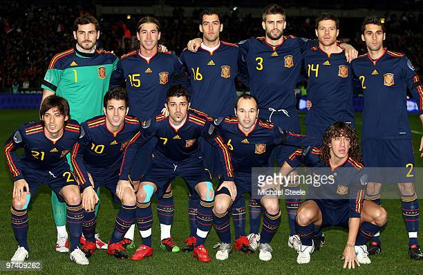 Spain players pose for a team photo before the France v Spain International Friendly match at the Stade de France on March 3 2010 in Paris France