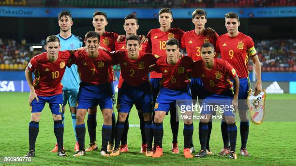 Spain poses for a team photo ahead of the FIFA U17 World Cup India 2017 group D match between Spain and Korea DPR at the Jawaharlal Nehru...