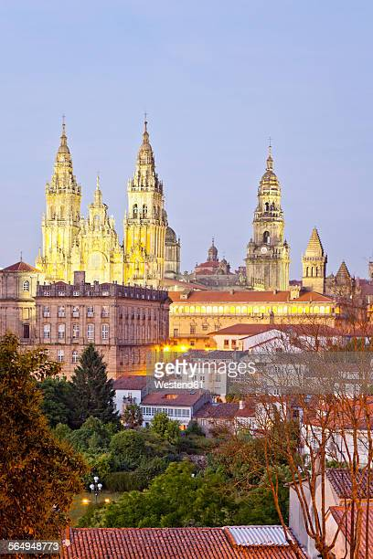 Spain, Province of Galicia, Santiago de Compostela, View to the Cathedral in the evening