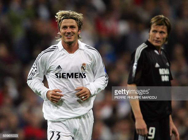 Real Madrid's Briton David Beckham smiles after scoring to make it 31 against Rosenborg during their Champions League football match in Santiago...