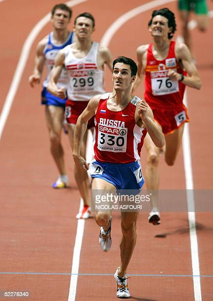 Russian Dmitry Bogdanov competes infront of Spanish Eugenio Barrios an Polish Grzegorz Krzosek during the men's 800m first round at the European...