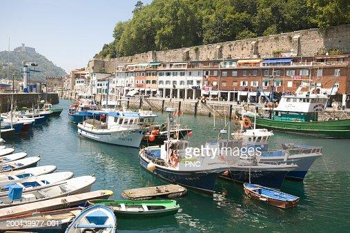 Spain, San Sebastian, Parte Vieja, boats in harbour,  outdoors : Stock Photo