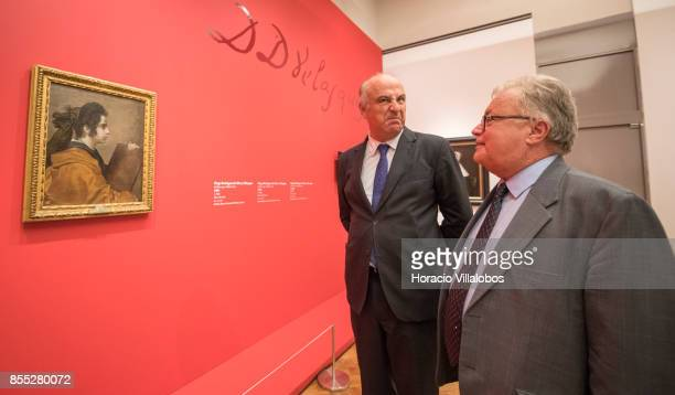 Spain Secretary of State for Culture Fernando Benzo Sainz and Portuguese Minister of Culture Luis Filipe Castro Mendes look at Diego Velazquez...