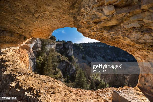 Spain, Soria, Canon del Rio Lobos Natural Park, natural hole in the rock