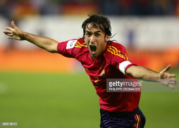 Spain's Raul Gonzalez celebrates after scoring against Serbia and Montenegro during their World Cup 2006 group 7 qualifier football match at the...