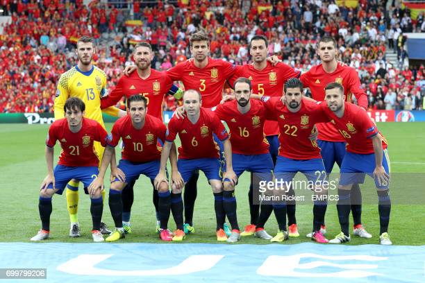 Spain team photo Spain goalkeeper David de Gea Sergio Ramos Gerard Pique Sergio Busquets Alvaro Morata Spain's David Silva Cesc Fabregas Andres...