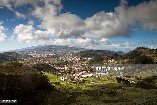 Spain, Tenerife, Canary Islands, Anaga mountains, view from Mirador de Jardina to San Cristobal de La Laguna