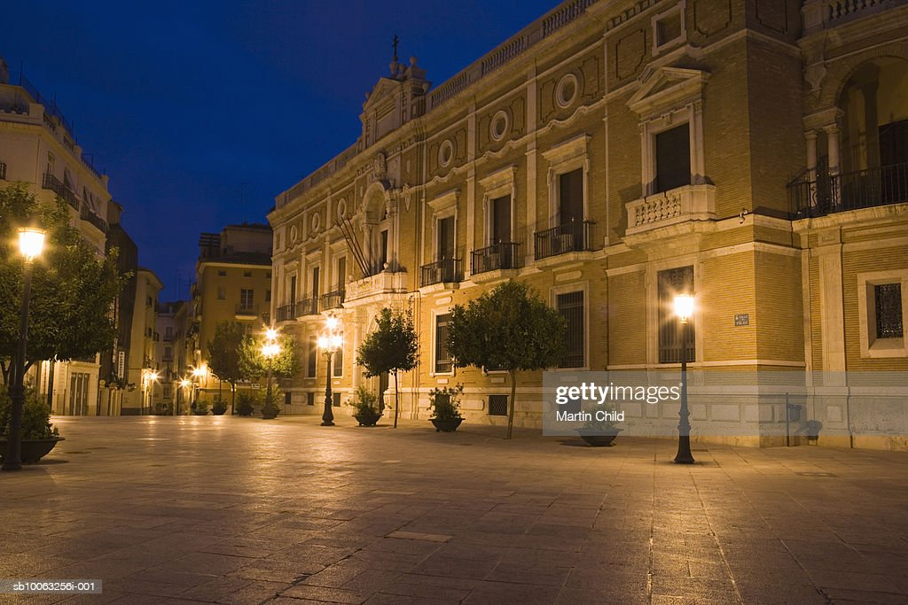 Spain, Valencia,  Plaza Arzobispo, Palacio Arzobispal (Archbishops Palace) at evening : Stock Photo