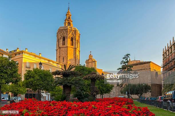 Spain, Valencia, view to Micalet at Placa de la Reina