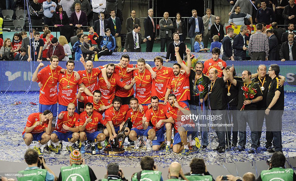 Spain wins the Men's Handball World Championship 2013 final match between Denmark at Palau Sant Jordi on January 27, 2013 in Barcelona, Spain.