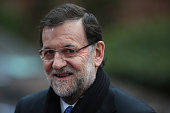 Spainish Prime Minister Mariano Rajoy arrives back at the headquarters of the Council of the European Union on February 8 2013 in Brussels Belgium EU...