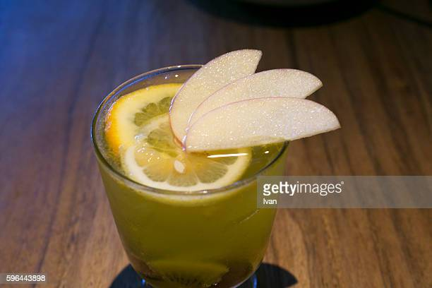 Spainish White Fruit Sangria with Sliced Apple, Kiwifruit and Orange