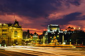 Spain,Madrid,Fountain of Cybele, long exposure shot across road
