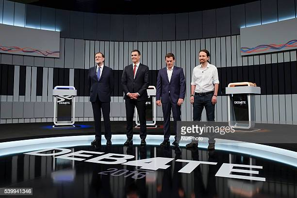Spain's acting Prime Minister and Popular Party candidate Mariano Rajoy left leader of Socialist Party Pedro Sanchez center left Ciudadanos Party...
