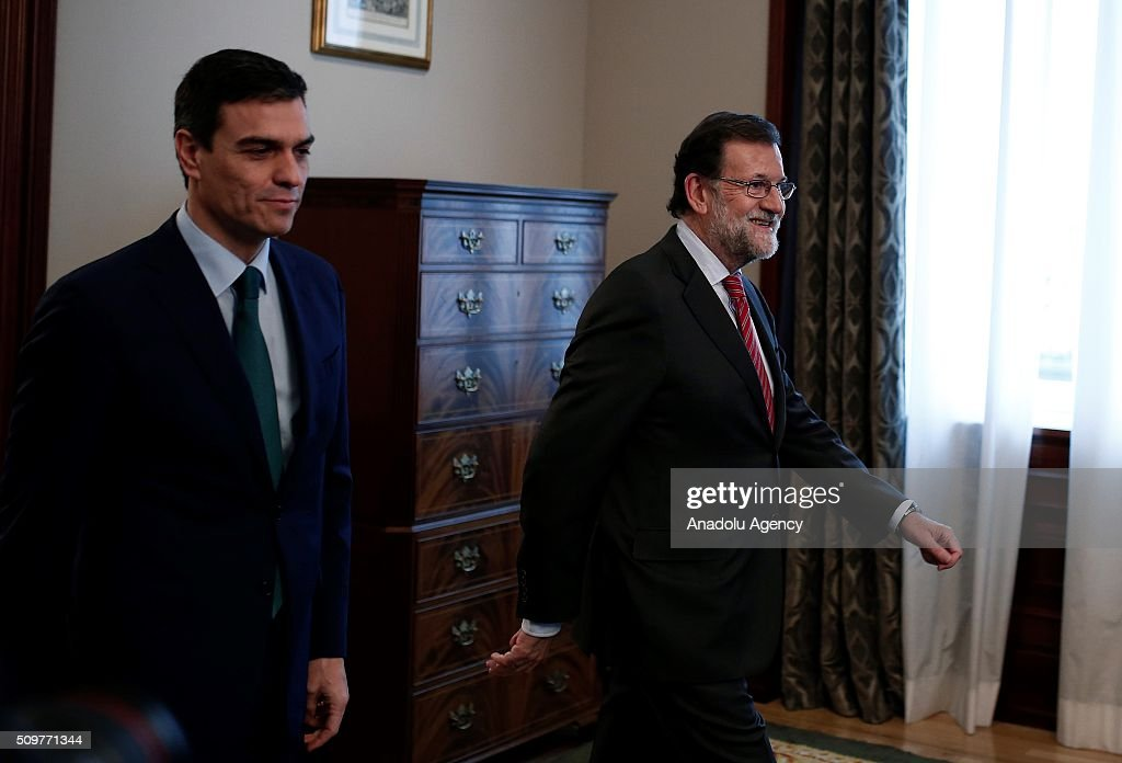 Spain's acting Prime Minister Mariano Rajoy (R) and Spanish Socialist Party (PSOE) leader Pedro Sanchez (L) are seen before a meeting at the Spanish parliament in Madrid, Spain on February 12, 2016.