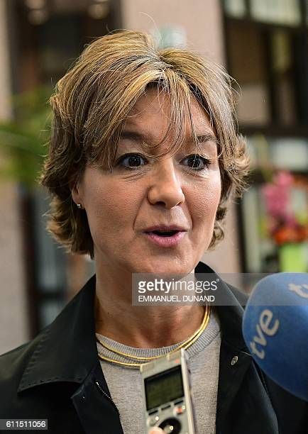 Spain's Agriculture Feeding and Environment Minister Isabel Garcia Tejerina arrives to attend an Environment Council at the European Council in...