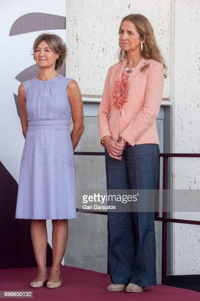Spain's Agriculture minister Isabel Garcia Tejerina and Princess Elena of Spain attend Macan Winery inauguration on June 16 2017 in Alava Spain