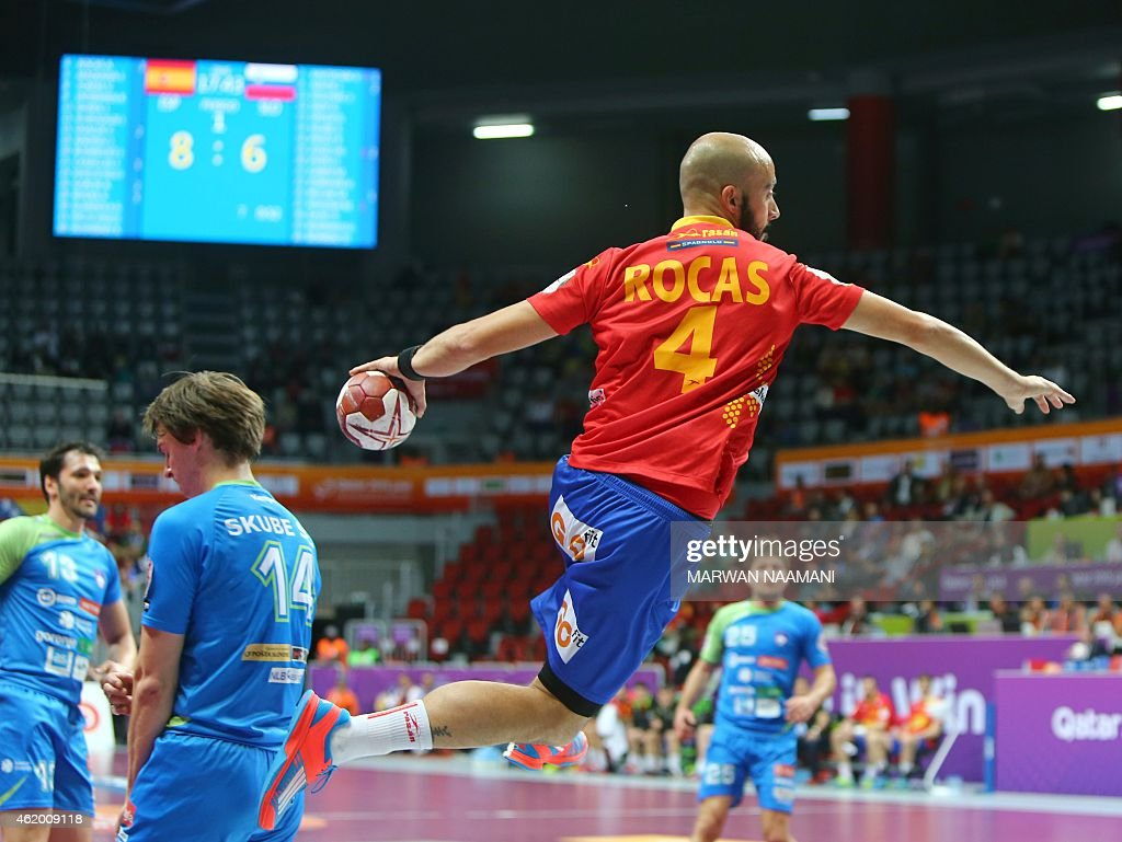 Spain's <a gi-track='captionPersonalityLinkClicked' href=/galleries/search?phrase=Albert+Rocas&family=editorial&specificpeople=855149 ng-click='$event.stopPropagation()'>Albert Rocas</a> attempts a shot on goal during the 24th Men's Handball World Championships preliminary round Group A match between Spain and Slovenia at the Duhail Handball Sports Hall in Doha on January 23, 2015.