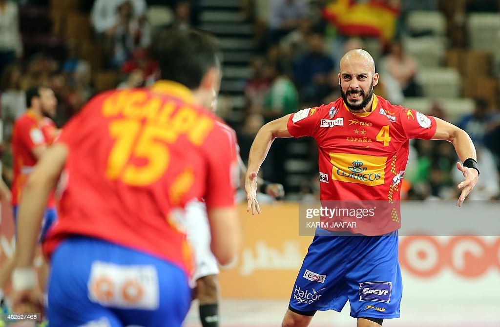Spain's <a gi-track='captionPersonalityLinkClicked' href=/galleries/search?phrase=Albert+Rocas&family=editorial&specificpeople=855149 ng-click='$event.stopPropagation()'>Albert Rocas</a> celebrates after scoring a goal during the 24th Men's Handball World Championships semi-finals match between Spain and France at the Lusail Multipurpose Hall in Doha on January 30, 2015.