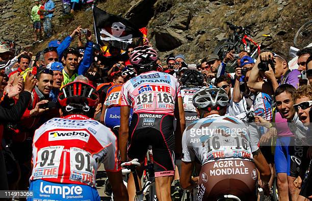 Spain's Alberto Contador climbs the Colle delle Finestre on stage 20 of the 94th Tour of Italy run from Verbania to Sestriere on May 28 2011 AFP...