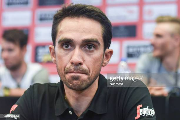 Spain's Alberto Contador from TrekSegafredo Team during the Top Riders press conference at the Yas Viceroy Abu Dhabi hotel On Wednesday February 22...