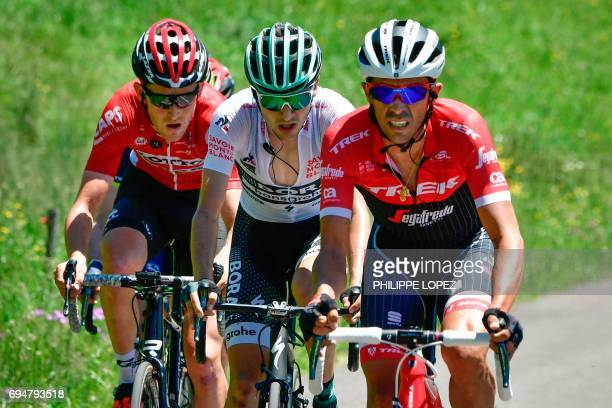 Spain's Alberto Contador Germany's Emanuel Buchmann wearing the best young's white jersey and Spain's Rafael Valls during the 115 km eighth stage of...