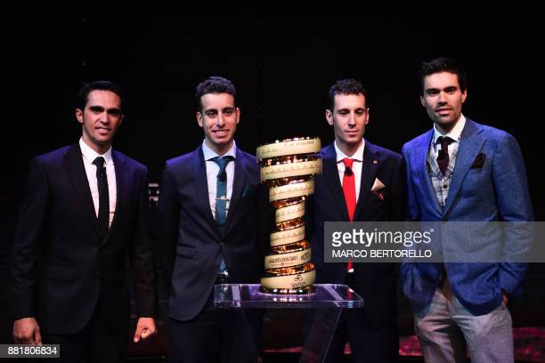 Spain's Alberto Contador Italy's Fabio Aru Italy's Vincenzo Nibali and Giro's title holder Tom Dumoulin of Netherlands attend the presentation of the...