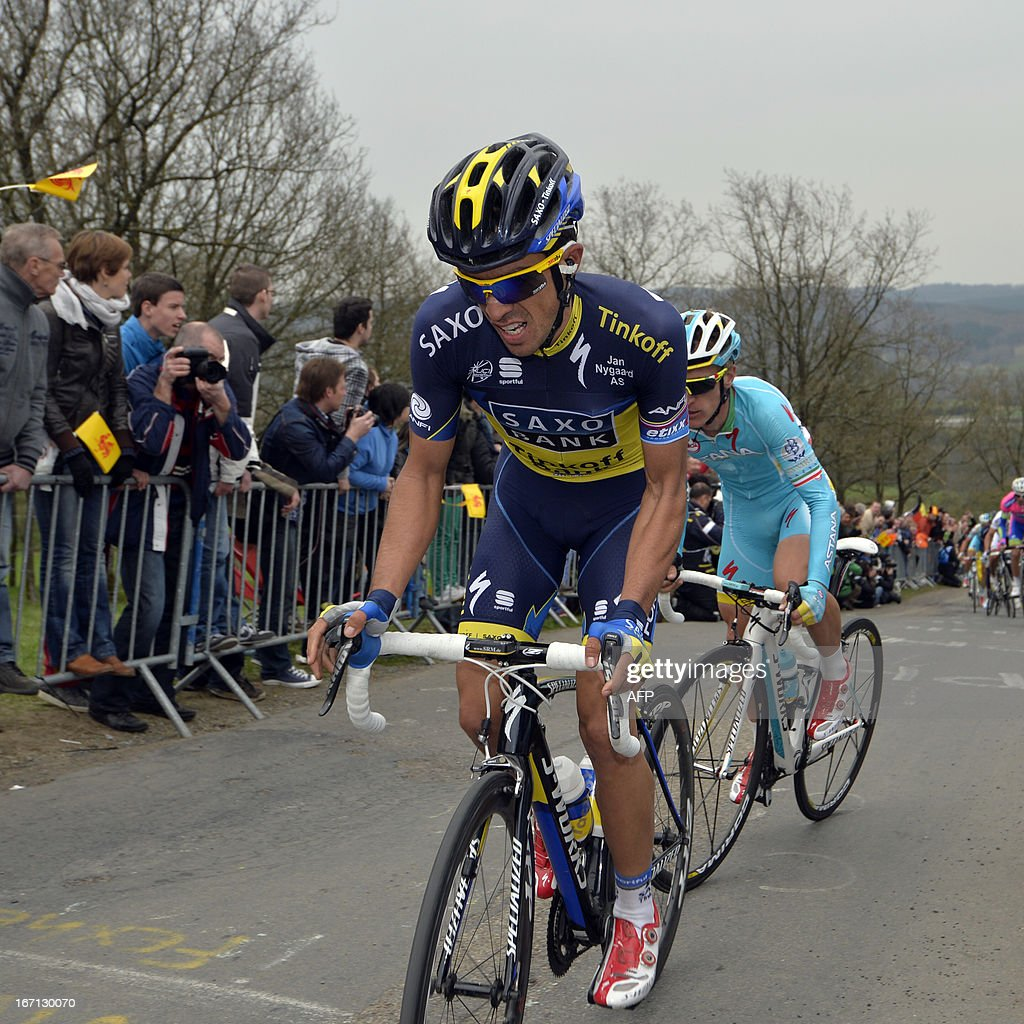 Spain's Alberto Contador of team Saxo-Tinkoff climbs a hill during the 99th edition of the Liege-Bastogne-Liege one-day cycling race on April 2013, 21 near Liege.
