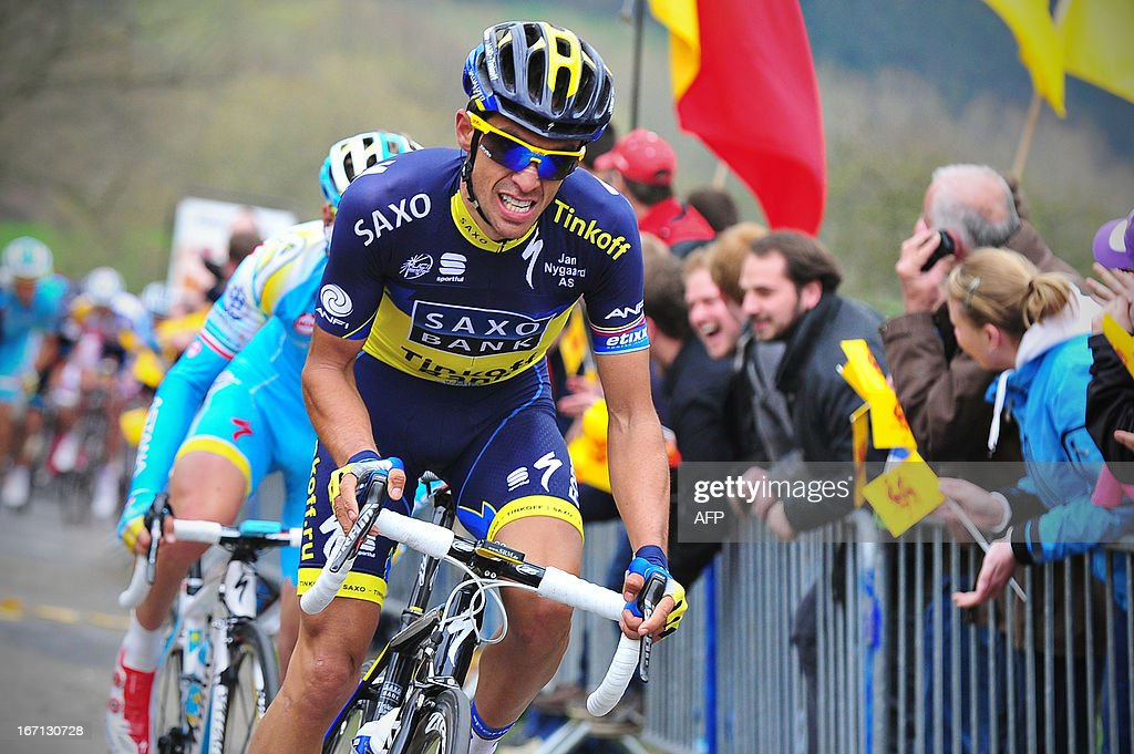 Spain's Alberto Contador of team Saxo-Tinkoff competes during the 99th edition of the Liege-Bastogne-Liege one-day cycling race on April 2013, 21 in Liege.