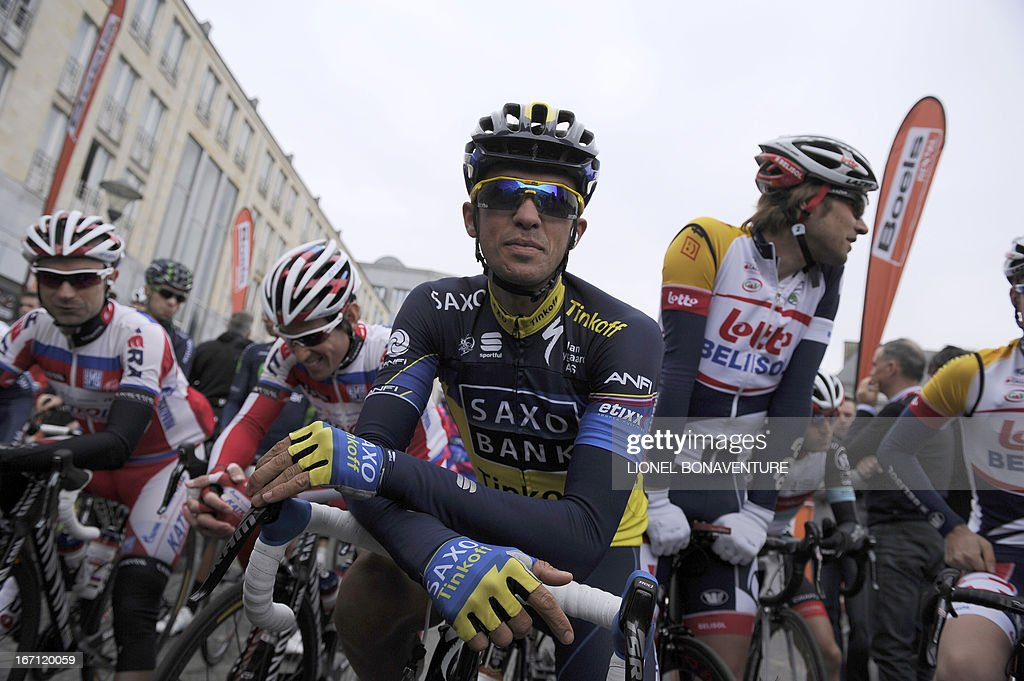 Spain's Alberto Contador of team Saxo-Tinkoff waits for the start of the 99th edition of the Liege-Bastogne-Liege, a one day cycling race, on April 21, 2013, in Liege.
