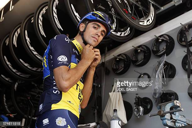 Spain's Alberto Contador prepares before a training session after a press conference on June 27 2013 in PortoVecchio on the French island of Corsica...