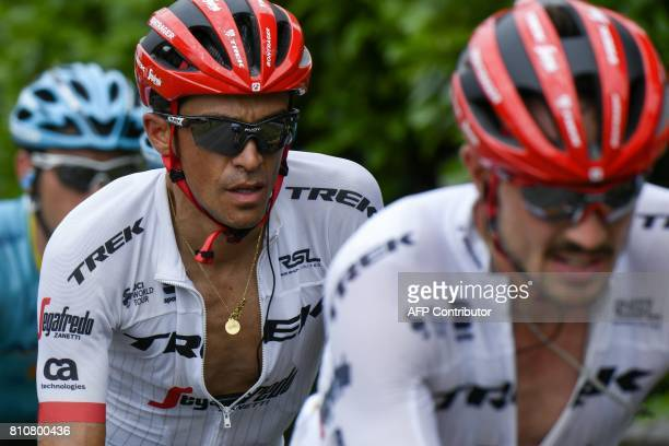 Spain's Alberto Contador rides behind his teammate Germany's John Degenkolb during the 1875 km eighth stage of the 104th edition of the Tour de...