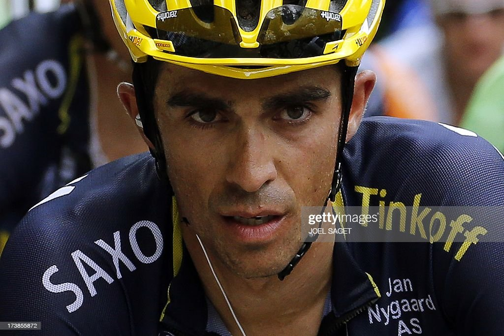 Spain's Alberto Contador rides during the 172.5 km eighteenth stage of the 100th edition of the Tour de France cycling race on July 18, 2013 between Gap and Alpe-d'Huez, French Alps.