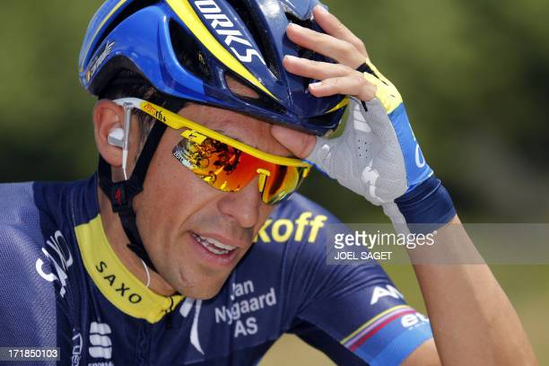 Spain's Alberto Contador rides during the 213 km first stage of the 100th edition of the Tour de France cycling race on June 29 2013 between...