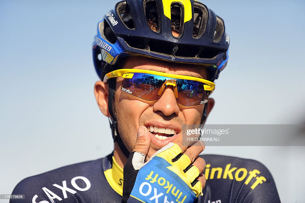 Spain's Alberto Contador waits for the start of the 77th edition of the Plouay Grand Prix cycling race on September 1, 2013 in Plouay, western of France. This year, 238 cyclists compete in the Plouay Grand Prix cycling race.