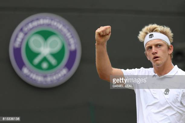 Spain's Alejandro Davidovich Fokina reacts against Argentina's Axel Geller during their boys' singles final match on the last day of the 2017...