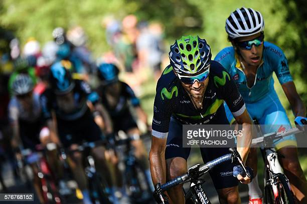 Spain's Alejandro Valverde and Italy's Fabio Aru ride during the 160 km fifteenth stage of the 103rd edition of the Tour de France cycling race on...