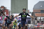 Spain's Alejandro Valverde celebrates after winning the 101st LiegeBastogneLiege oneday classic cycling race a 253km from Liege to Ans on April 26...