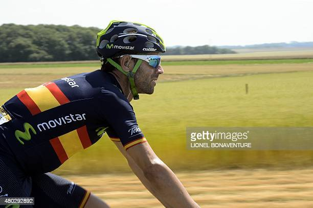 Spain's Alejandro Valverde rides in the pack during the 1915 km sixth stage of the 102nd edition of the Tour de France cycling race on July 9 between...