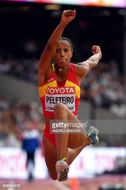 Spain's Ana Peleteiro competes in the qualifying round of the women's triple jump athletics event at the 2017 IAAF World Championships at the London...