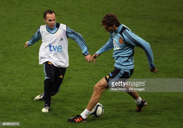 Spain's Andres Iniesta and Fernando Llorente during the training session at Wembley Stadium London