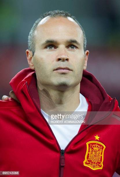 Spain's Andres Iniesta looks on prior to the FIFA World Cup 2018 qualifying football match betyween Macedonia and Spain at Philip II of Macedon...