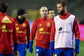 Spain's Andres Iniesta takes part in a training session on November 16 2015 in Brussels on the eve of an UEFA Euro 2016 friendly football match...