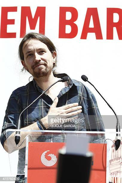 Spain's antiausterity party Podemos leader Pablo Iglesias takes part in a Barcelona en Comu party's campaign meeting at Nou Barris Central Park in...